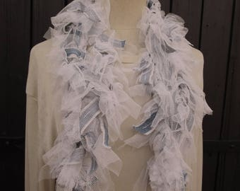 blue jeans and white soft tulle ruffles scarf