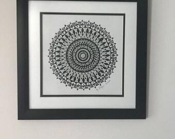 Mandala Drawing, Original Drawing, Mandala Wall Art, Boho Wall Art, Mandala Art, Zen Art, Yoga Art, Bohemian Decor, Geometric Wall Art