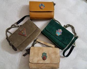 Moroccan suede handmade clutch