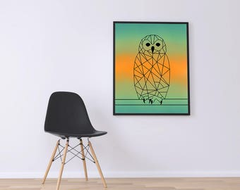 Geometric owl printed canvas (color)