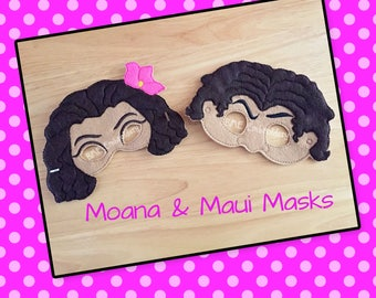 Moana & Maui Inspired Masks-Dress Up-HalloweenMask/Costume-Birthday Party Favor-Theme Party-Moana Party-Photo Prop-Polynesian Princess