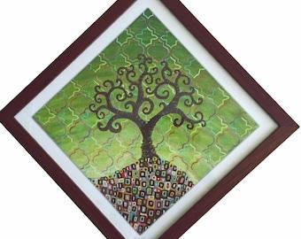 Green framed diamond Geometree artwork