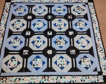 Baby quilt handmade dog themed