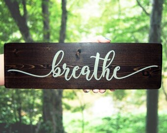 Breathe wood sign, Yoga studio decor, Spiritual gift, Gift for her, Birthday gift, Gift under 15, Meditation focus, Boho decor, Boho Gift