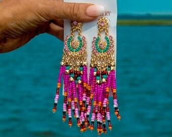 Multicolored Gold Detailed Rhinestone Beaded Chandelier Earrings