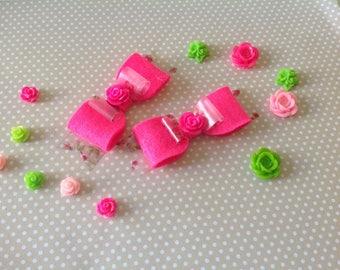 Shocking pink floral hair bows
