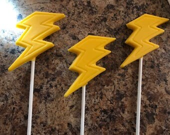 Lightning bolt chocolate pops