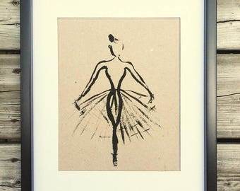 Painting Ballerina, black frame, decor, acrylic painting, original poster art