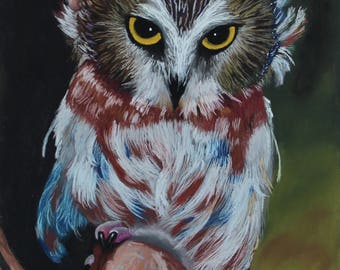 Owl painting Painting an owl Bird Pastel drawing Painting artist Art painting Original pastel painting Home décor Owl artwork Kitchen decor