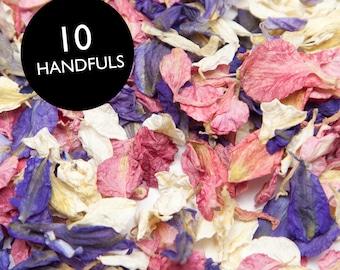 Mixed wedding confetti petals - Biodegradable natural larkspur delphinium petals. 1 litre