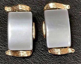 Moonglow lucite mid-century grey clip on earrings Gray midcentury vintage clip ons