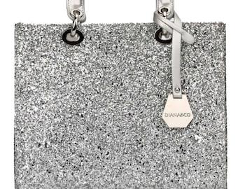 Lady bag handbag silver glitter