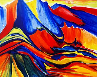 Rila - Bulgarian mountain, original painting, oil, canvas, nature, mountain, tops