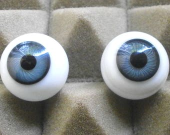 pair of glass eyes, blue/21 mm/vintage/antique/1930s/Lauscha/Germany
