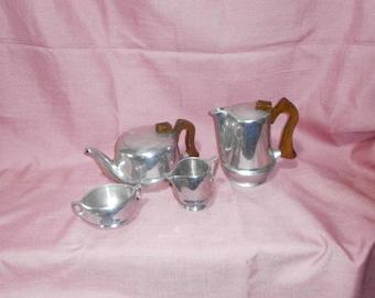 Picquot Ware, 4 pieces Teaset/1950s/Vintage, retro/British