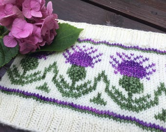 Highland Thistle Cowl kit, hand dyed, hand made, pattern included, knitting kit, gift