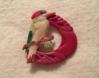 Vintage 1940's Celluloid Bird Pin