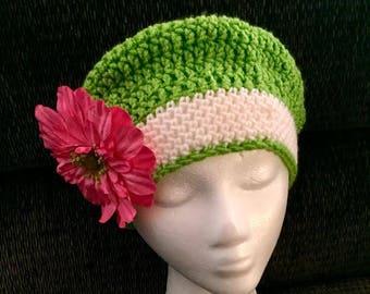 Woman's crocheted Green Slouch beanie