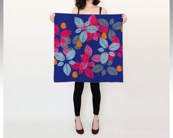 Leaves silk scarf (blue)