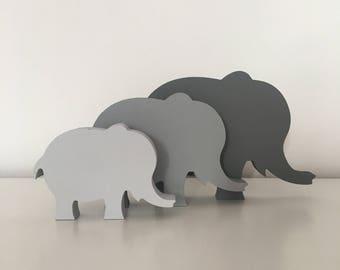Family of Wooden Elephants