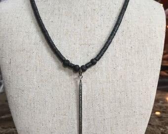Vinyl pave diamond spike necklace