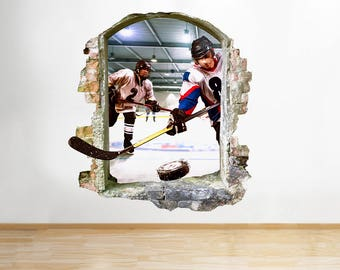 Q973 Ice Hockey Sport Hobby Boys Window Wall Decal 3D Art Stickers Vinyl Room
