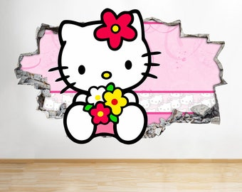H061 Hello Kitty Nursery Cute Kids Wall Decal Poster 3D Art Stickers Vinyl  Room Kids Bedroom