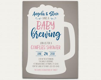 Baby Brewing Couples Baby Shower Invitation