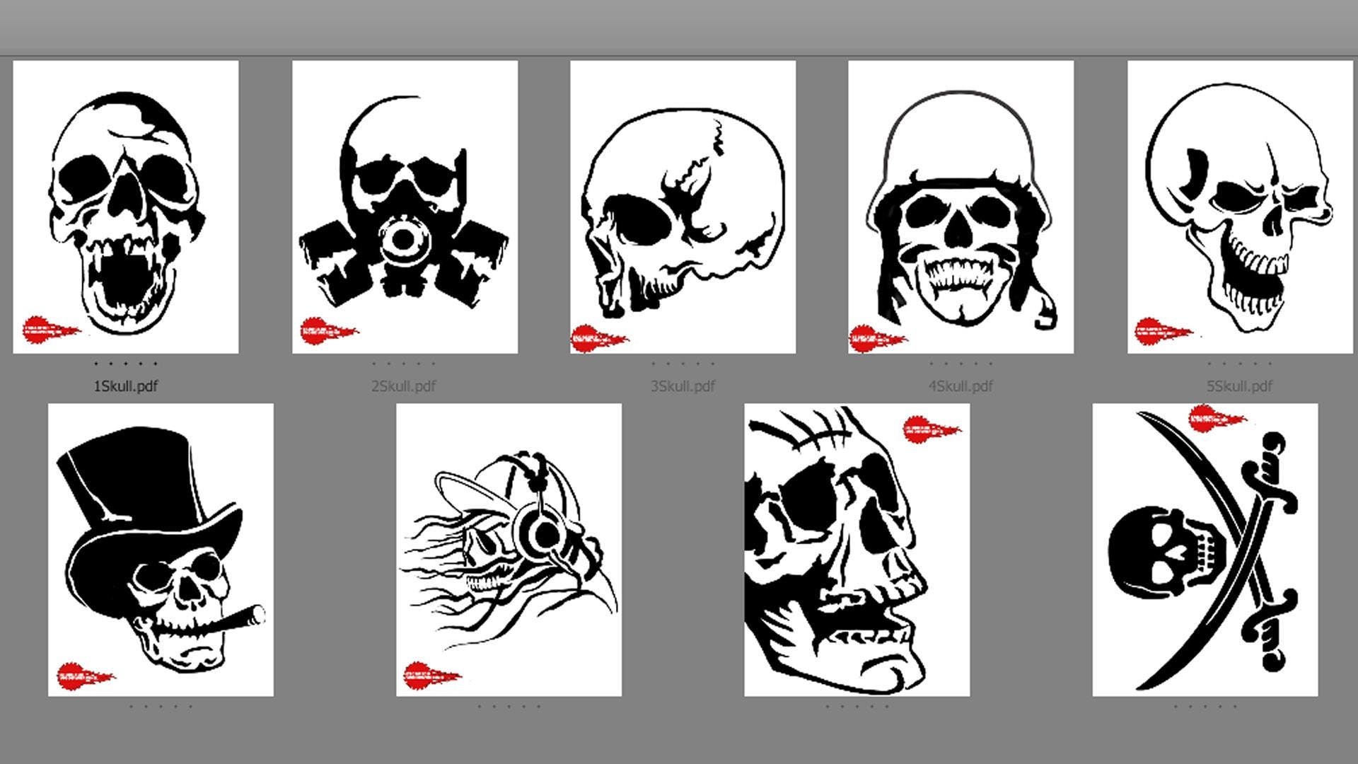 9 Skull Patterns Scroll Saw Woodworking Stencils Crafts.