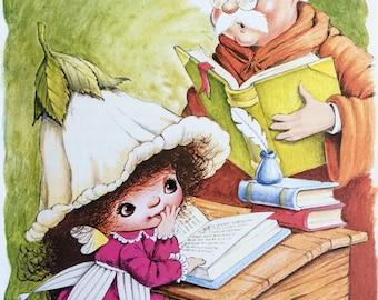 Victoria Plum Illustration / Original Book page/ 1983 / Wall Art / Home Decor / Vintage Illustration / Nursery Art