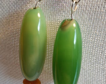 Green glas earrings