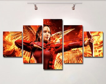 The Hunger Games poster Katniss Mockingjay canvas wall art print painting wall hanging home decor High Quality 5 piece set Gift kids movie