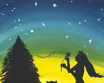 Girl Silhouette Under the Star on Canvas