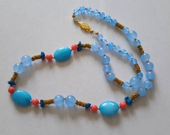 Natural top quality turquoise, pink coral & mixed stones necklace