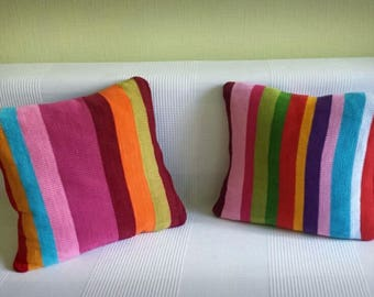 Hand-knitted Pillowcase and Pillow - 100% IRIS cotton yarn