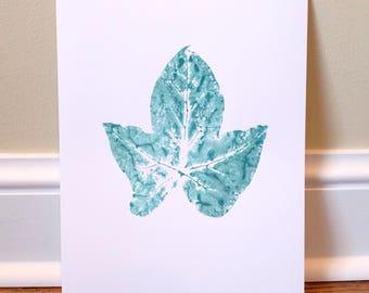 Light Teal Leaf Print