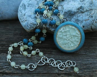 Light Blue Ceramic Glass Crackle Chain Pendant