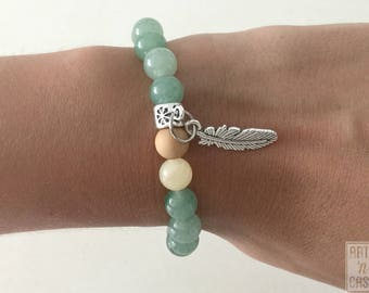 Green aventurine beads, agate and wood and feather charm bracelets