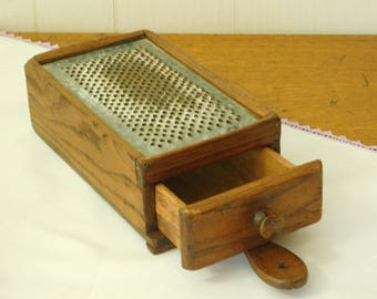 Vintage Grater with drawer, farmhouse decor, country kitchen gadget, primitive hanging cheese shredder, punched metal, collectible Americana