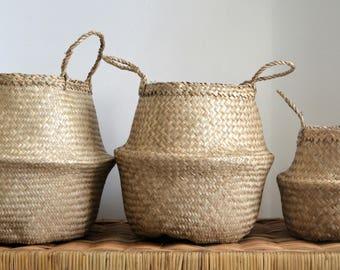 Paniers à la main vietnamien naturel les herbiers ventre
