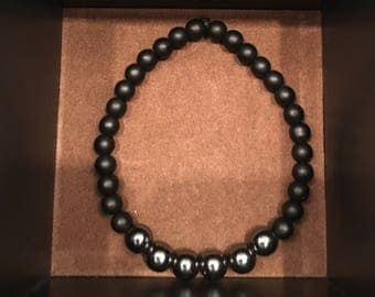 Black and Pewter bead bracelet
