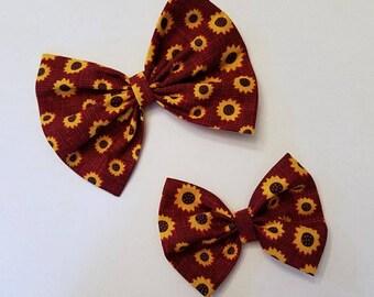 Cotton Hair Bow, Nylon Headband, Hair Clip, Ruby Sunflowers