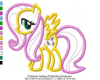 Fluttershy Applique Embroidery Design - INSTANT DOWNLOAD