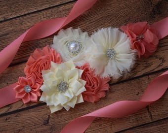 coral and ivory Sash,#2  , flower Belt, maternity sash, wedding sash, flower girl sash, maternity sash belt