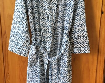 Lightweight summer cotton block printed dressing gown robe