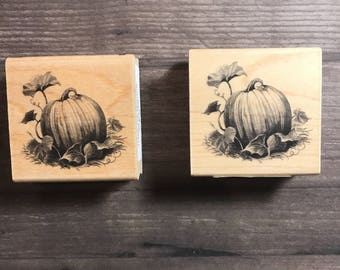 Vintage Pumpkin Patch Small Wooden Block Stamp