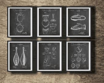 Bowling Patent Set of 6 Prints | Bowling Poster | Bowling Wall Decor | Bowling Gift | Bowling Set of 6 Posters INSTANT DOWNLOAD