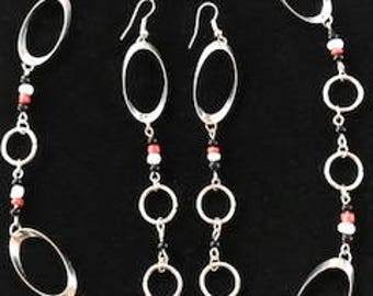 Silver, Red, Black and White Long Dangle Drop Unique Earrings
