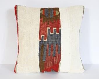 40 x 40 cm / 16'' x 16'' Patchwork Kilim Pillow, Orange Pillow, Boho Pillow, Aztec Pillow, Cushion Cover, Sofa Pillow, Throw Pillow, Kilim