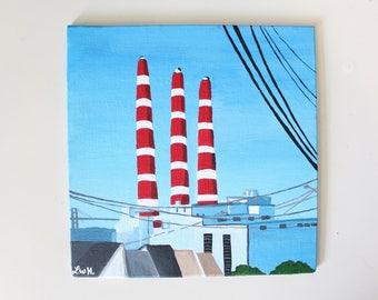 Dartmouth Smokestacks Acrylic Painting